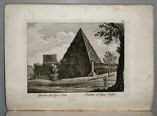1818c.Inc/Rame.ROMA: SEPOLCRO DI CAJO CESTIO-PIRAMIDE  par NIBBY - Parboni-Ruga.
