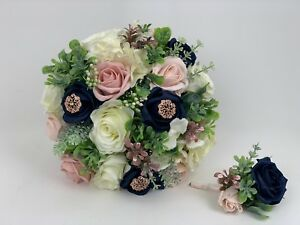 e5b953bae Image is loading wedding-bouquets-rose-gold-ivory-brides-flowers-posy-