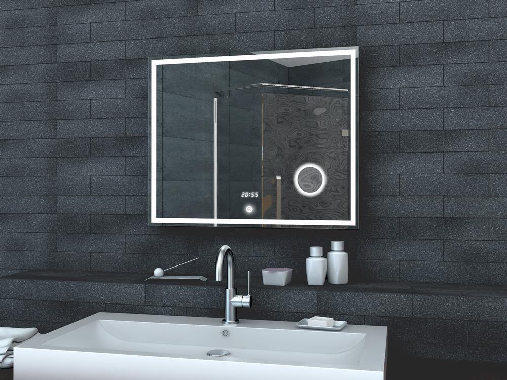 LED Beleuchtung Kalt weiß licht Badezimmer Bad Wand Schmink spiegel Uhr 80 x 60
