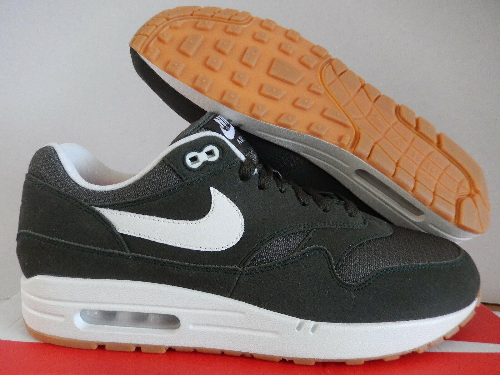 NIKE AIR MAX 1 ID DARK STUCCO GREEN-WHITE-BROWN SZ 10.5 MESH TOE  [943756-972]