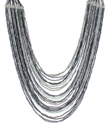 "Blue /& Black Beaded Multi-Strand Necklace Global /& Vine Long 30/"" Grey"