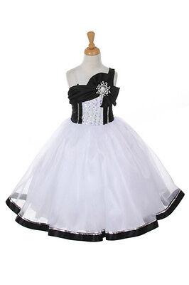 Flower Girl Dress Pageant Birthday Wedding Jr.Bridesmaid Sequins Ruffled Skirt
