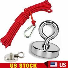 Fishing Magnet Kit 300lbs Pull Force Strong Neodymium Red Rope Carabiner Set