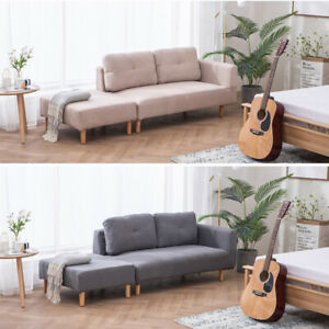 Fabric Loveseat Chaise Sofa Small Double /3 Seater Couch ...