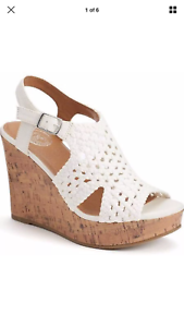 SO womens womens woven wedge platform sandals womens womens white, natural & black color New 51a1a8