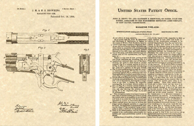 WINCHESTER//John BROWNING 1894 Lever Action Gun//Rifle PATENT Art Print PM#942