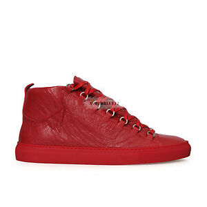 f61739e1e7aa Image is loading BALENCIAGA-ARENA-LEATHER-HIGH-TOP-SNEAKERS-ROUGE-GRENADE