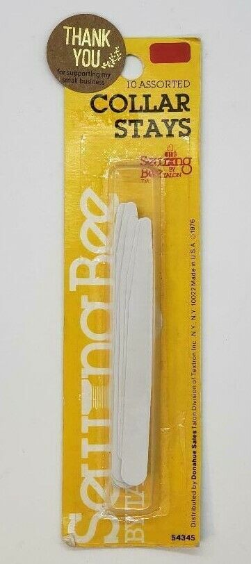Sewing Bee by Talon, 10 Assorted Shirt Collar Stays White, NEW, MADE IN USA