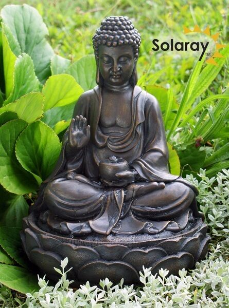 Anya Buddha Solar Water Feature Fountain Garden Yard Decorative ...