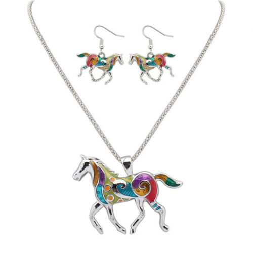 Fashion Drops of Oil Rainbow Horse Female Chain Necklaces and Earrings Set GX