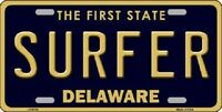 Surfer Delaware Novelty Metal License Plate
