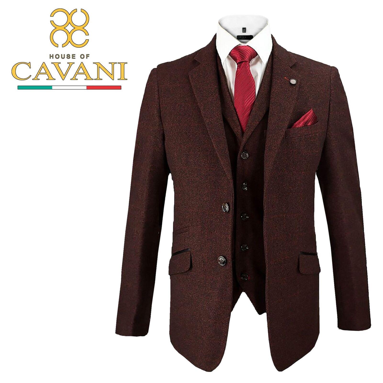 Herren Cavani Draco Tweed Blazer Waistcoat Trousers 3 Piece Suit Sold Separately