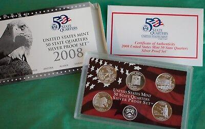 2008-S 5 Coin Silver Proof Quarter Set OGP W//COA