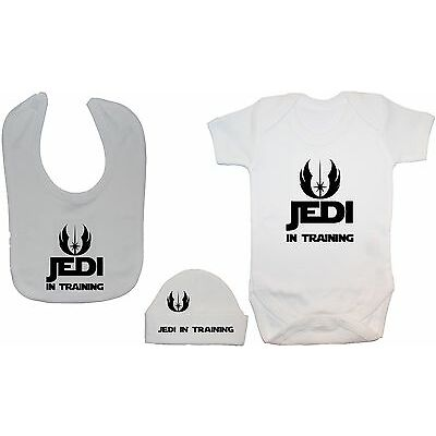 Jedi in Training Baby Grow,Romper,Bodysuit, Feeding Bib & Hat/Cap 0-12m StarWars