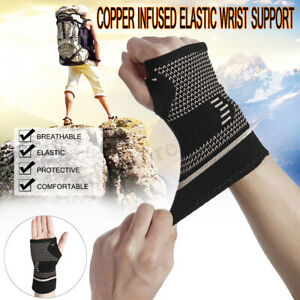 4d3fa11952 Image is loading Copper-Infused-Wrist-Sleeve-Palm-Hand-Support-Compression-
