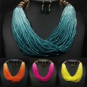 Multi-Strand-Multi-Color-Blue-Green-Red-Glass-Seed-Bead-Necklace-Earring-Set
