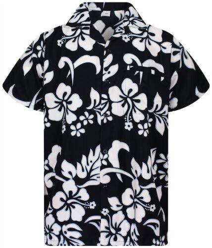 Funky Hawaiian Shirt Hibiskus Black Different Sizes