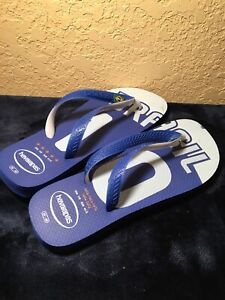 authentic quality new release crazy price Details about Havaianas Brasil 10 Flip Flops Size 7/8 Blue And White