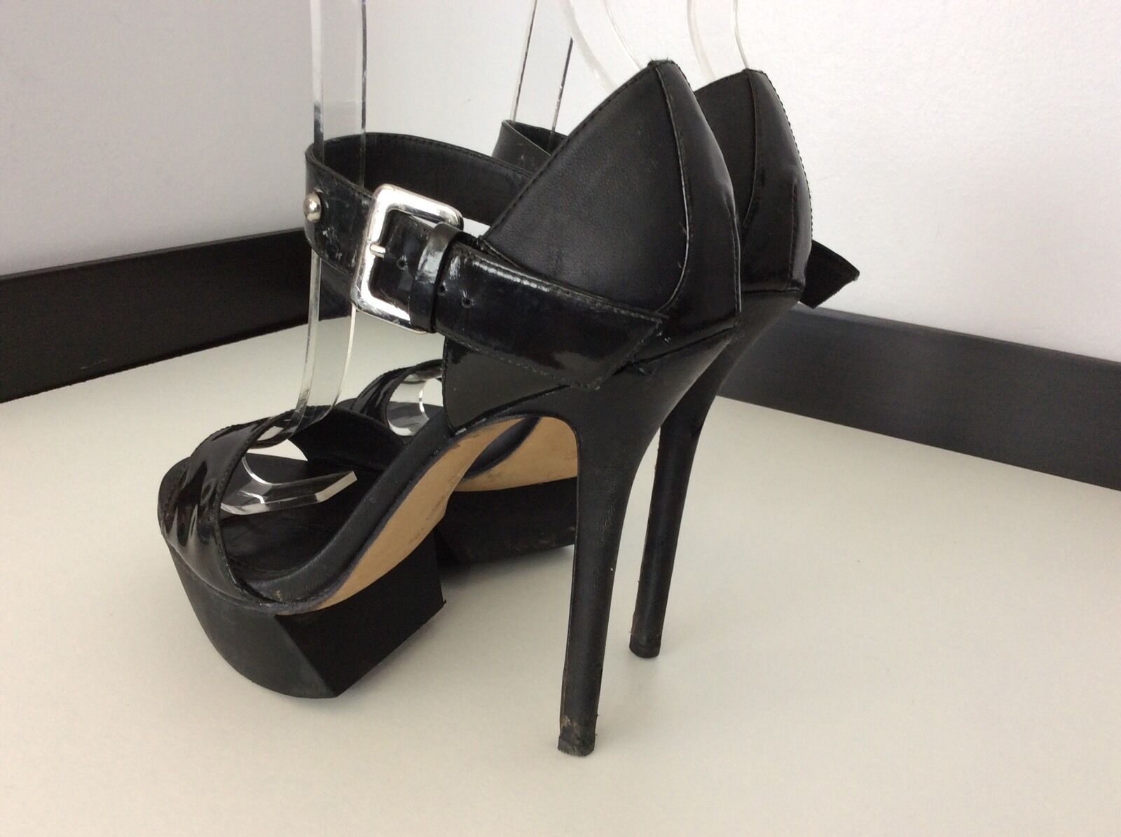 CAMILLA SKOVGAARD London Black Leather Peep Peep Peep Toe shoes Uk Size 4 37 Heels Women's ae00ec