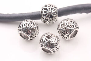 10Pcs-Tibetan-Silver-Spacer-Beads-Fit-Charm-Bracelet-Jewelry-Making-Craft-10mm