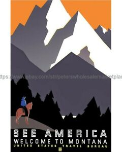 """8.5/"""" x 11/"""" Reproduction 1937 See America Welcome to Montana Vintage Poster"""