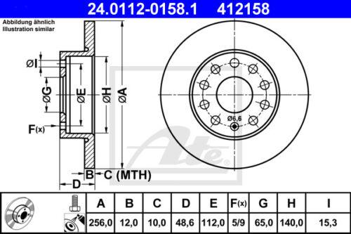 2KA, 2KH, 2C HA ATE Bremsscheiben Beläge Hinterachse für VW CADDY III Kasten