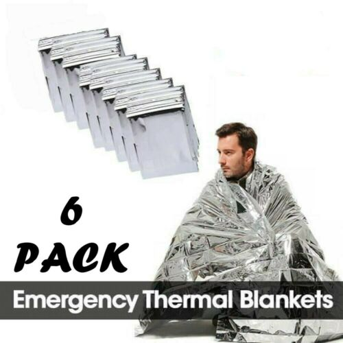 6 Pcs Emergency Mylar Thermal Blankets Camping Outdoors First Aid Survival Gear