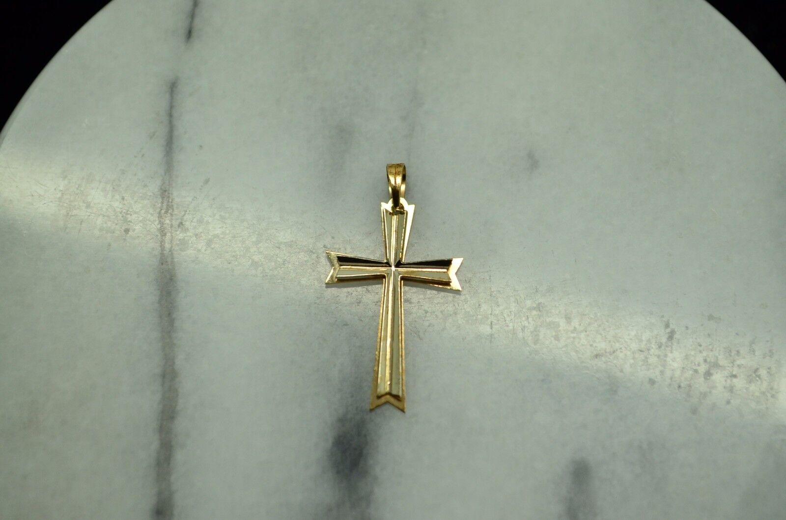 14K YELLOW gold SMALL CROSS PENDANT CHARM -FRAMED DESIGN