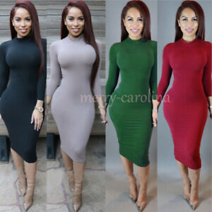 Sexy-Ladies-Turtle-Neck-Bandage-Long-Sleeve-Bodycon-Party-Cocktail-Midi-Dress