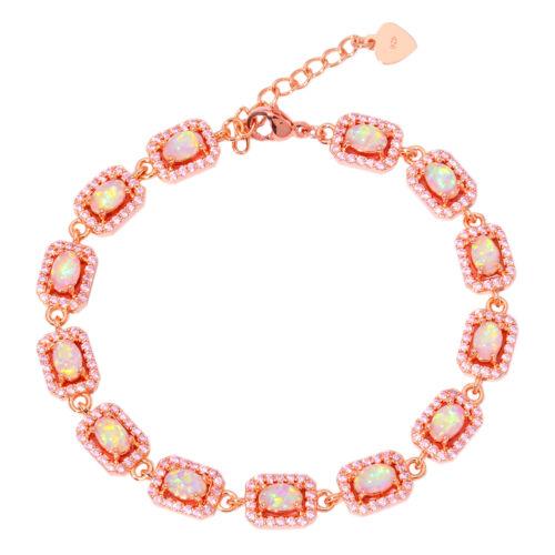 Pink Opal Rose Topaze Argent Plaqué or Rose Femmes Bijoux Chaîne Bracelet OS573