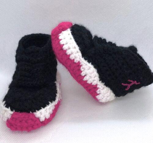 Crochet Baby Sneakers J Basketball Air Girls Newborn Knit Pink PreWalker shoes