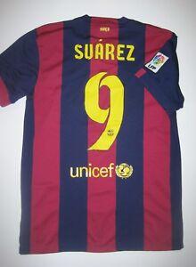 dc9514312c3 2014-2015 FC Barcelona Luis Suarez Home Jersey Trikot Maglia Kit ...