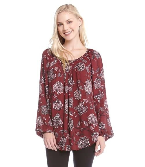 Karen Kane New Dark Red (Wine) Paisley Flower Print Pleated Blouse Sizes M L