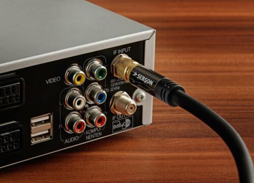 F-Stecker TV Antennenkabel Koaxialkabel 75 Ohm SEBSON SAT Kabel 5m 4-fach