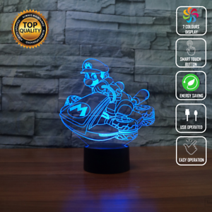 NEW MARIO KART LUIGI 3D Acrylic LED 7 Colour Night Light Touch Table Lamp GIFT