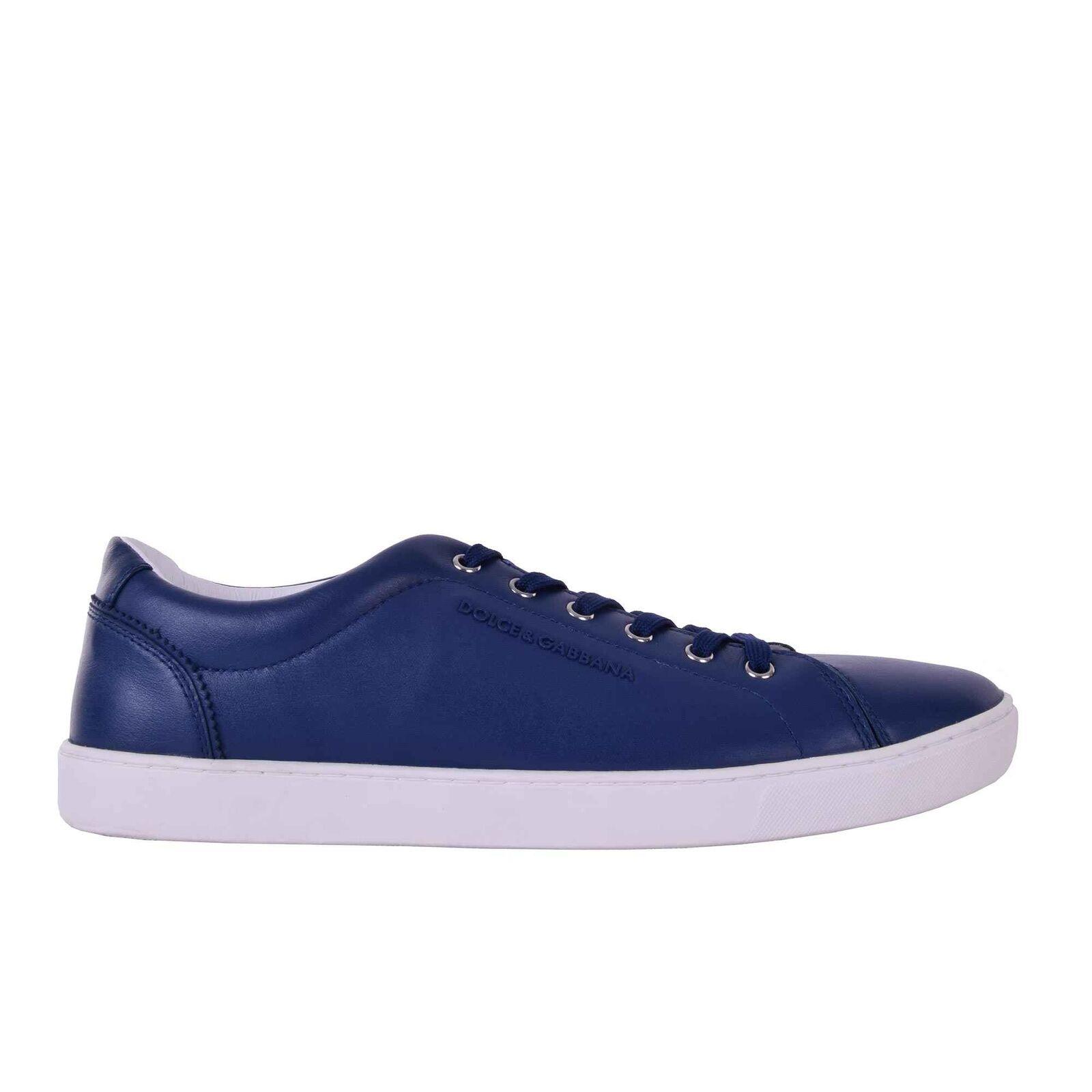 DOLCE & GABBANA Klassische Leder Sneakers Logo Zapatos NEW RU mit Logo Sneakers Blau 05933 6f703d