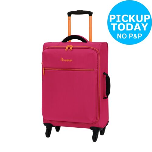 Pink. IT Luggage The LITE 4 Wheel Soft Cabin Suitcase