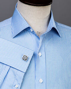 Thin-Blue-Stripe-Formal-Business-Dress-Shirt-White-Men-039-s-Classic-French-Cuff-Top