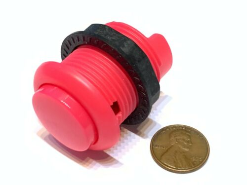 2 Piece Pink Arcade momentary PUSH BUTTON SWITCH DC N//O normally open on//off B28