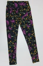 LuLaRoe Flower Print Leggings - Womens One Size - Black - New