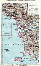 Province di Massa,Lucca,Pisa,Livorno. Carta Geografica.Elba.Cromolitografia.1895