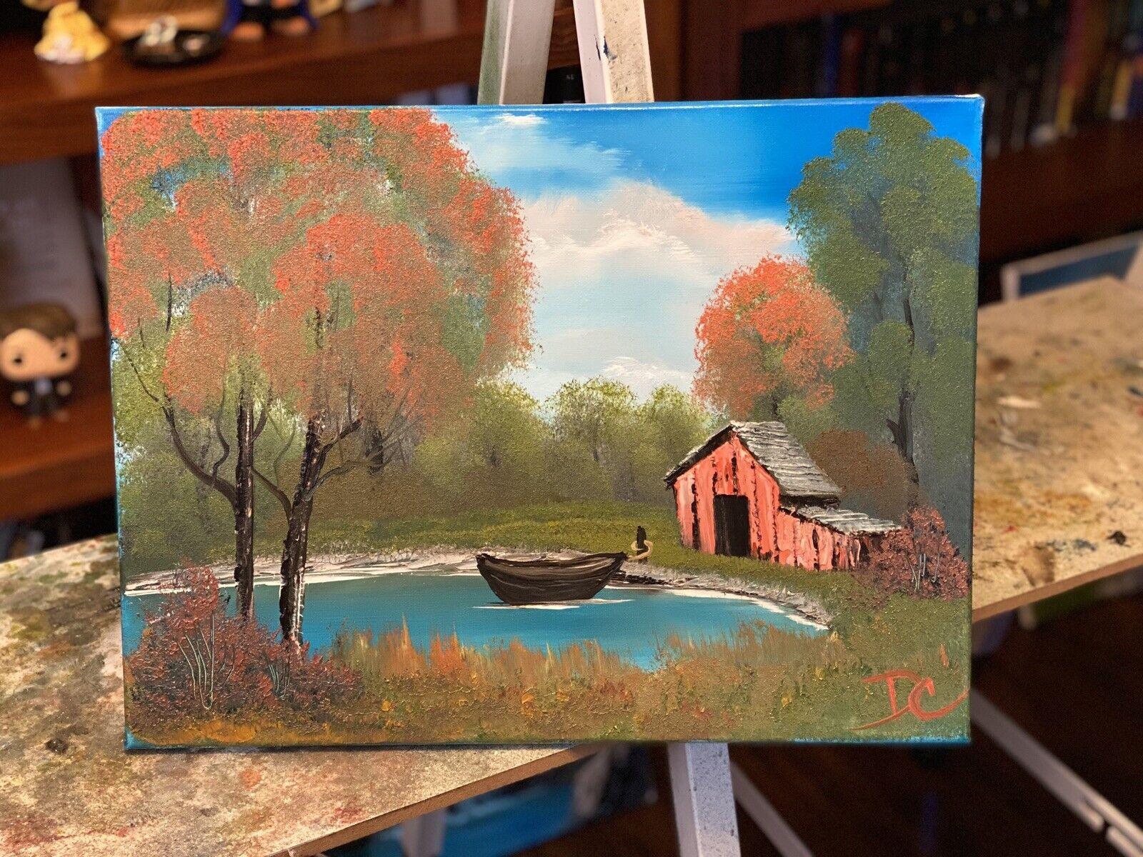 "Original Oil Painting 12x16  ""Boathouse"" Art/Landscape (Bob Ross Inspired) 2"