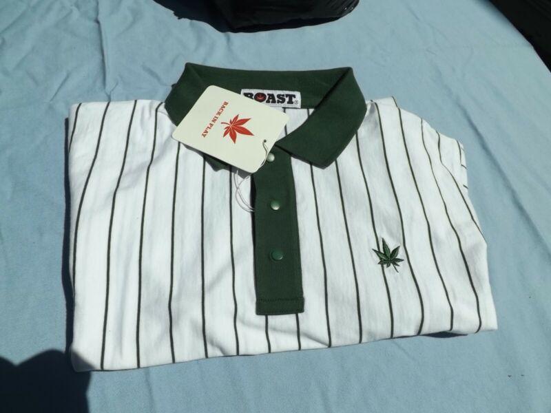 1 NWT BOAST Men/'s Short Sleeve POLO SHIRT Large White//Blue//Black W//Pot Leaf
