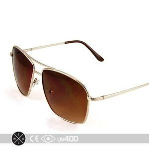Classic Square Aviator Sunglasses Gold Metal Frame ...