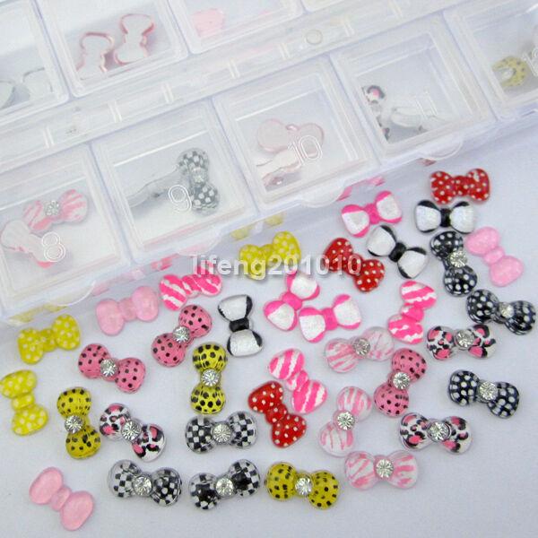 60PC acrylic jewelry resin speckle bow tie design nail art rhinestone decoration