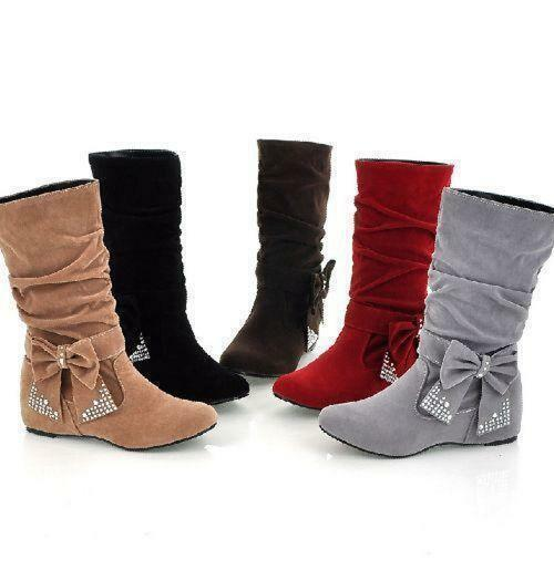 Winter  Womens Slouch shoes Mid-Calf Bowknot Boot Pull On Faux Suede Wedge Heel