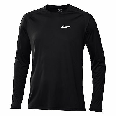 Asics Long sleeve Running Top Core Crew T-Shirt Black New 114510 Tight Fit M & L