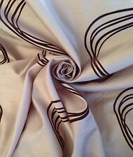 12 Metres Faux Silk Quality Curtain Fabric With Chocolate Velvet Swirl In Latte