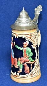 Vintage Made Japan Ceramic COUPLE Lidded Mini Beer Stein