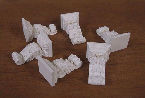 CORBELS~  1:12 scale ~Dollhouse Mini ~ White ~ Room Box 20  CARVED   BRACKETS